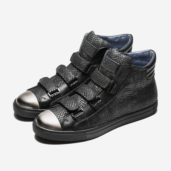 HIGH-TOP HOOK&LOOP SHOES BLACK - Top High-top Shoes - OPP Official Store (OPP France)
