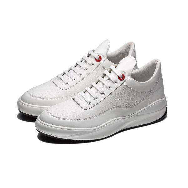 EMBOSSING LACE-UP SNEAKERS WHITE - Top Sneakers - OPP Official Store (OPP France)