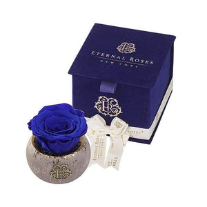 Eternal Roses® Blue Velvet Gift Box in Gold