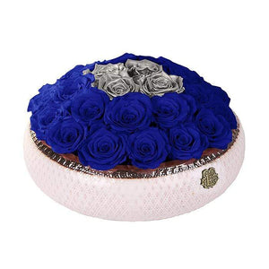 Eternal Roses® Centerpiece Soho Rose Arrangement in Azzure & Silver, Medium