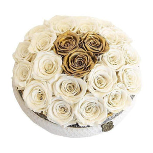 Eternal Roses® Centerpiece Soho Rose Arrangement In Pearl & Gold, medium
