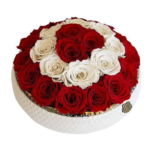 Eternal Roses® Centerpiece Soho Rose Arrangement in Scarlet & Pearl, Medium