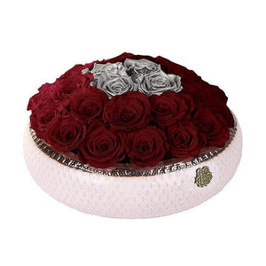 Eternal Roses® Centerpiece Soho Rose Arrangement  in Scarlet & Silver, medium