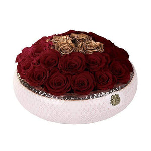 Eternal Roses® Centerpiece Soho Rose Arrangement in Wine & Gold, medium
