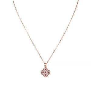 Eternal Roses® Clover Pave Necklace in Ruby