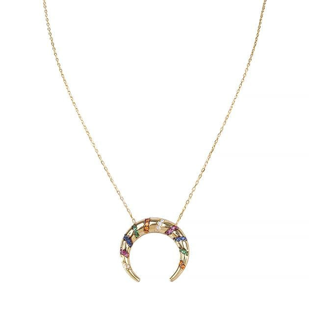 Eternal Roses® Colorful Half Moon Necklace