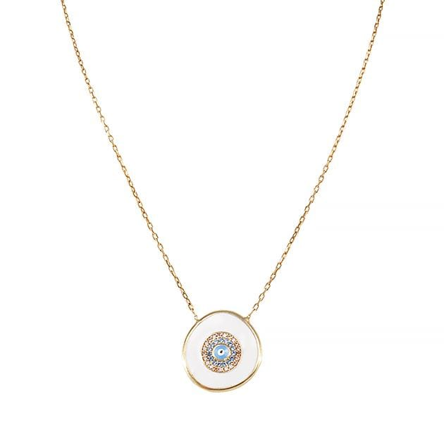 Eternal Roses® Evil Eye Charm Necklace with Aqua Marine