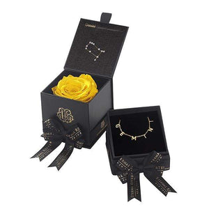 Eternal Roses® Friendship Yellow Gemini Astor Box & Necklace Bundle