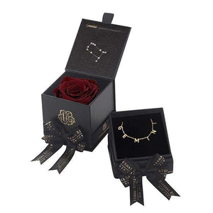 Eternal Roses® Wineberry Gemini Astor Box & Necklace Bundle
