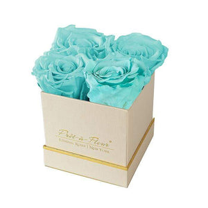 Eternal Roses® Gift Box Shimmery Gold / Tiffany Blue Lennox Gift Box