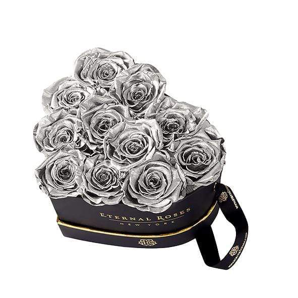 Eternal Roses® Grand Chelsea Eternal Rose Black Gift Box in Silver