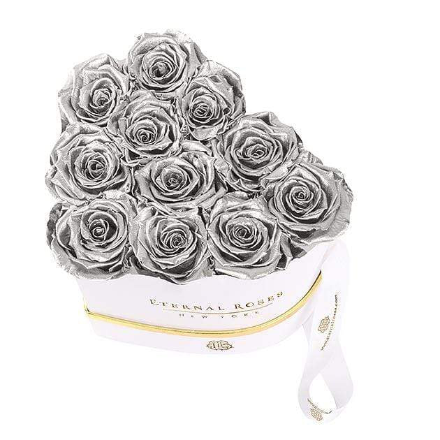 Eternal Roses® Grand Chelsea Eternal Rose White Gift Box in Silver
