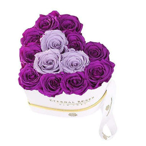 Eternal Roses® White Grand Chelsea Gift Box in Mystic Orchid