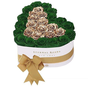 Eternal Roses® White / Emerald Green Grand Chelsea Mezzo Eternal Rose Gift Box