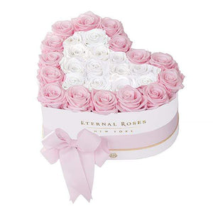Eternal Roses® White / Pink Martini Grand Chelsea Mezzo Eternal Rose Gift Box