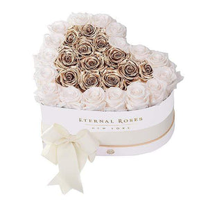 Eternal Roses® White / Mimosa Gold Grand Chelsea Mezzo Eternal Rose Gift Box
