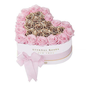 Eternal Roses® White / Pink Martini Gold Grand Chelsea Mezzo Eternal Rose Gift Box