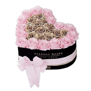 Eternal Roses® Black / Pink Martini Gold Grand Chelsea Mezzo Eternal Rose Gift Box