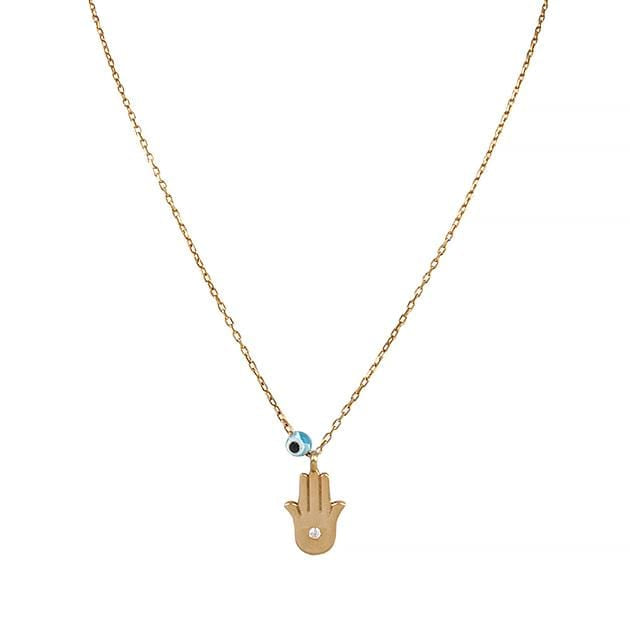 Eternal Roses® Hamsa Pave Necklace with Evil Eye