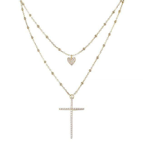 Eternal Roses® Layered Cross Pave Necklace