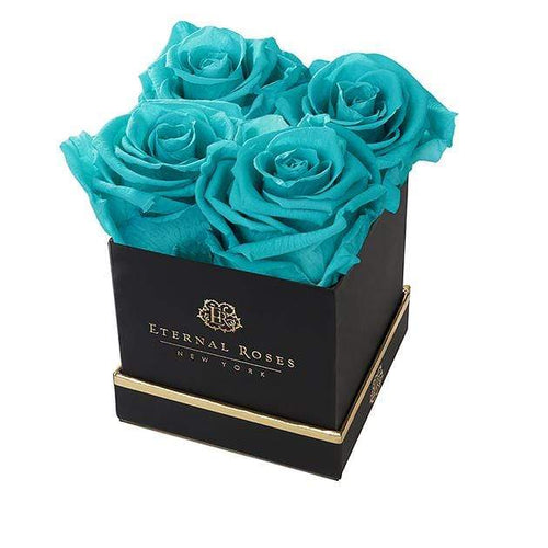 Eternal Roses® Black Lennox Small Gift Box in Teal