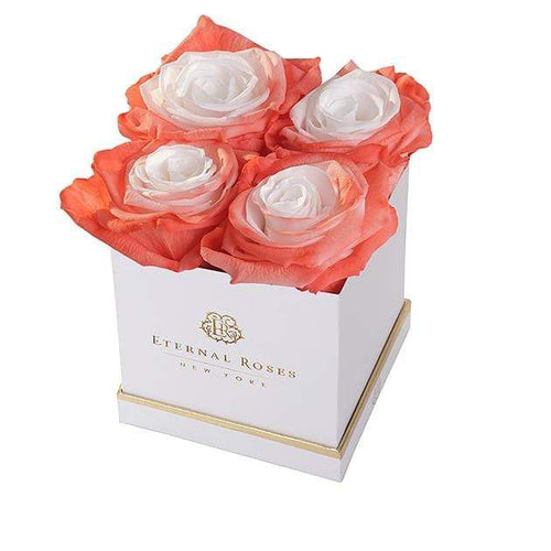 Eternal Roses® Lennox Small White Gift Box in Creamsicle