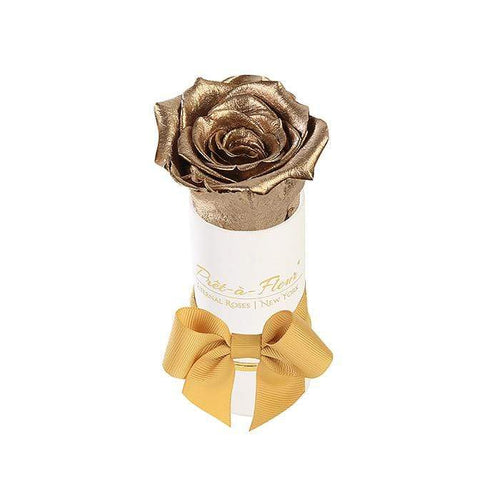 Eternal Roses® Liberty Gift Box in Shimmery Gold featuring Old World Gold Rose