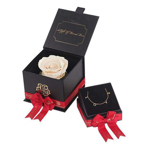 Eternal Roses® Champagne Mini Gift Box & Necklace Bundle