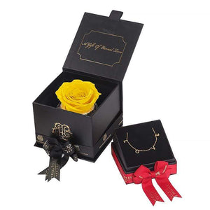 Eternal Roses® Friendship Yellow Mini Gift Box & Necklace Bundle