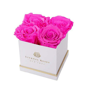 Eternal Roses® White Mother's Day Lennox Gift Box Small in Hot Pink