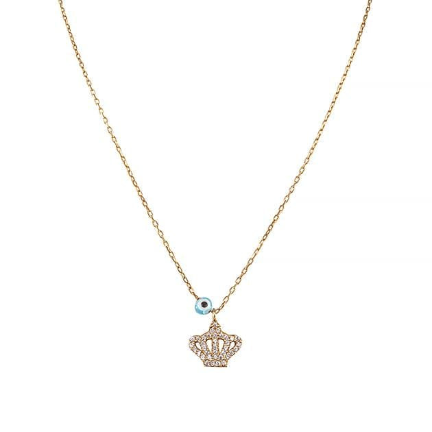 Eternal Roses® Royal Crown Necklace with Evil Eye