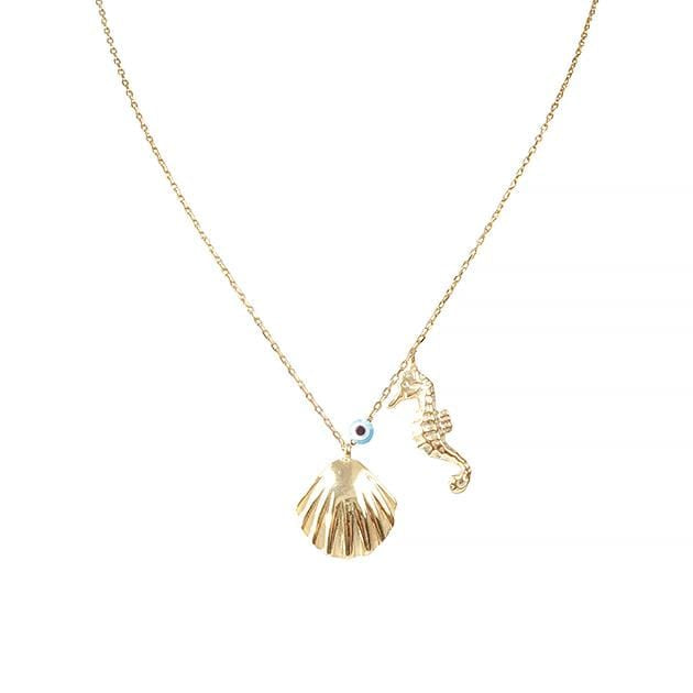 Eternal Roses® Seashell & Seahorse Necklace with Evil Eye