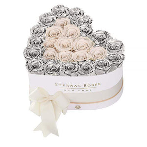 Eternal Roses® White / Silver Serafina Mezzo Eternal Rose Gift Box - NEW