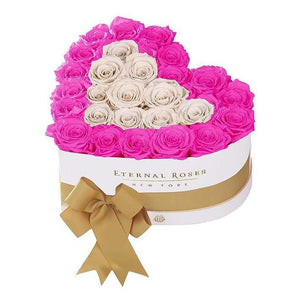 Eternal Roses® White / Hot Pink Serafina Mezzo Eternal Rose Gift Box - NEW