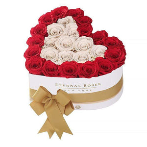 Eternal Roses® White / Scarlet Serafina Mezzo Eternal Rose Gift Box - NEW
