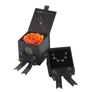 Eternal Roses® Sunset Taurus Box & Necklace Bundle