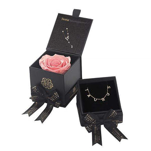Eternal Roses® Amarylis Taurus Box & Necklace Bundle