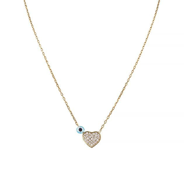 Eternal Roses® Tiny Heart Necklace with Evil Eye