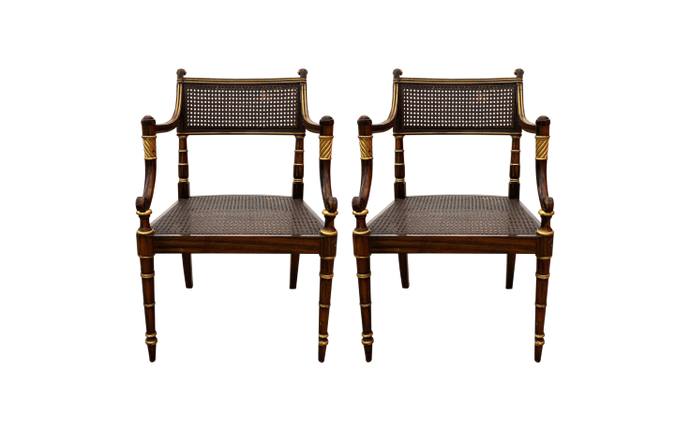 Regency Style Caned Satinwood Armchairs