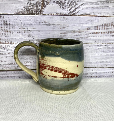 Rustic Waters Mug - Bluewater Bridges & Sailboat