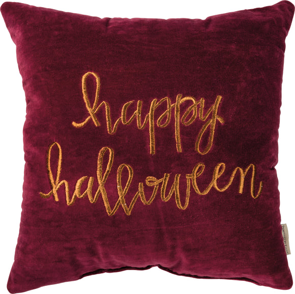 Happy Halloween Pillow, Embroidered & Velvet, 18