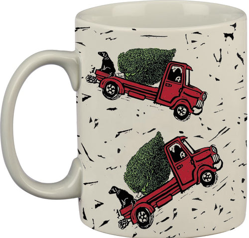 Christmas Red Truck & Tree Mug, Stoneware, 20 oz