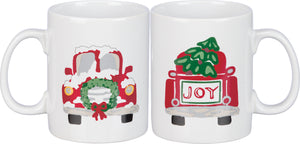 JOY Christmas Red Truck & Tree Mug, Stoneware, 20 oz - ONE Mug