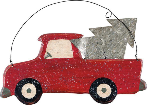 Red Truck Christmas Wall Decor, Metal & Wood, 13