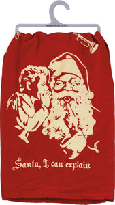 Santa I Can Explain Dish Towel