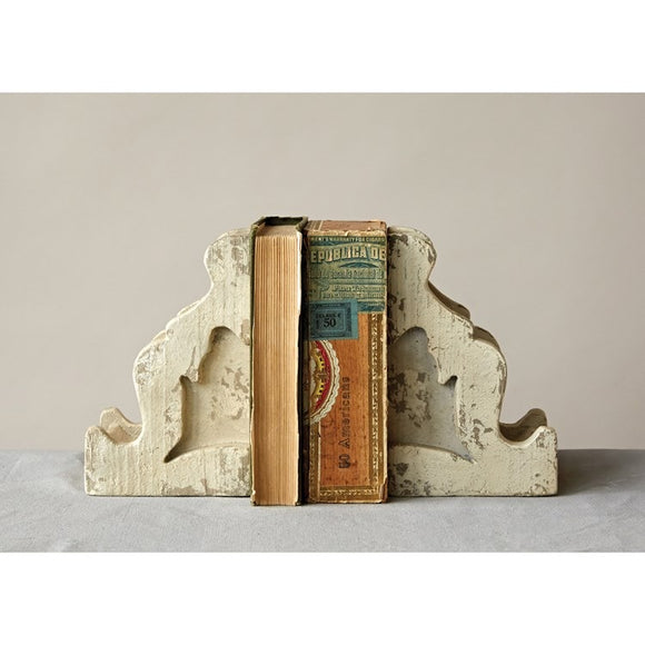 Magnesia Corbel Bookends, Distressed White, Set of 2