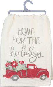 Home for the Holidays Red Truck Dish Towel