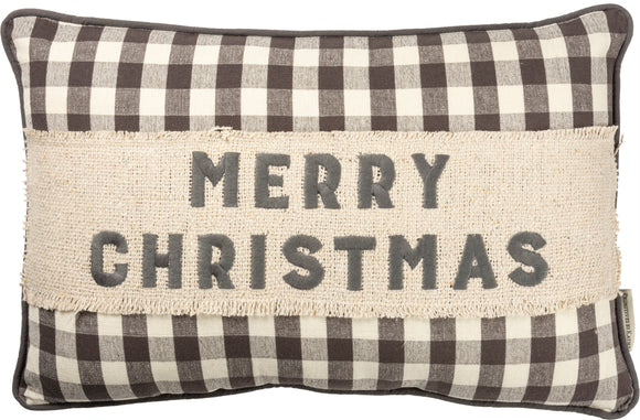 Plaid Merry Christmas Pillow