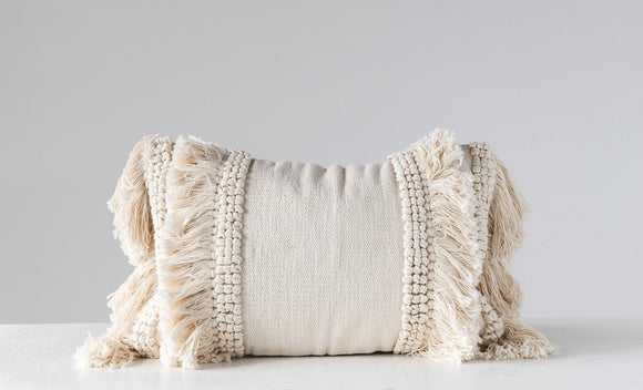 Chenille Woven Lumbar Pillow w/ Fringe, Cream 24""