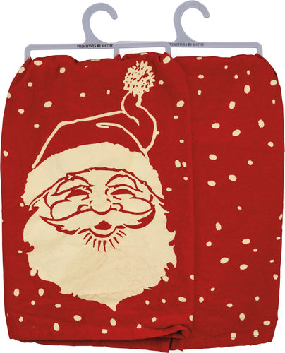Santa Face Dish Towel - Red